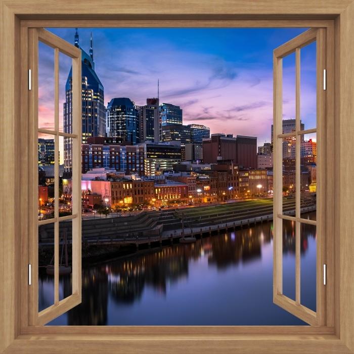 Fototapeta winylowa Okno brązowe otwarte - Nashville Skyline - Widok przez okno