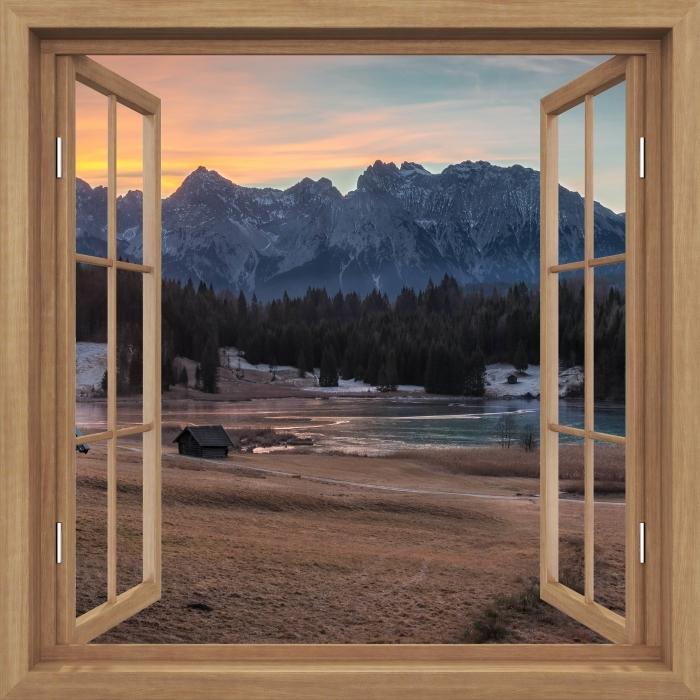 Fototapeta winylowa Okno brązowe otwarte - Bawaria - Widok przez okno