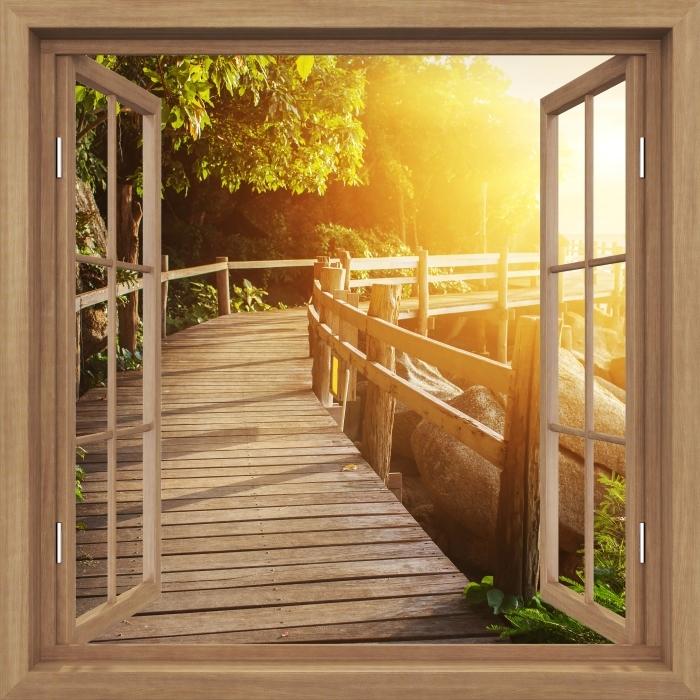 Papier peint vinyle Brown a ouvert la fenêtre - Thaïlande - La vue à travers la fenêtre