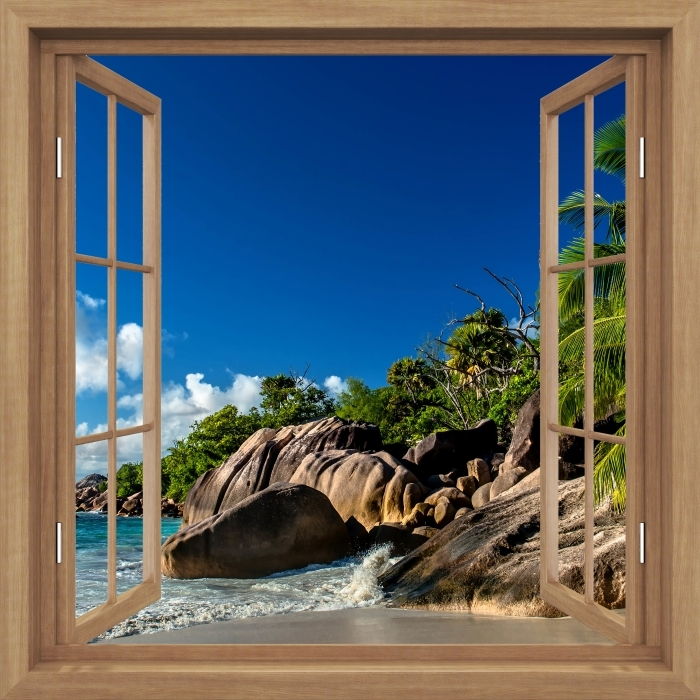 Vinyl Fotobehang Brown opende het raam - Tropical - Uitzicht door het raam