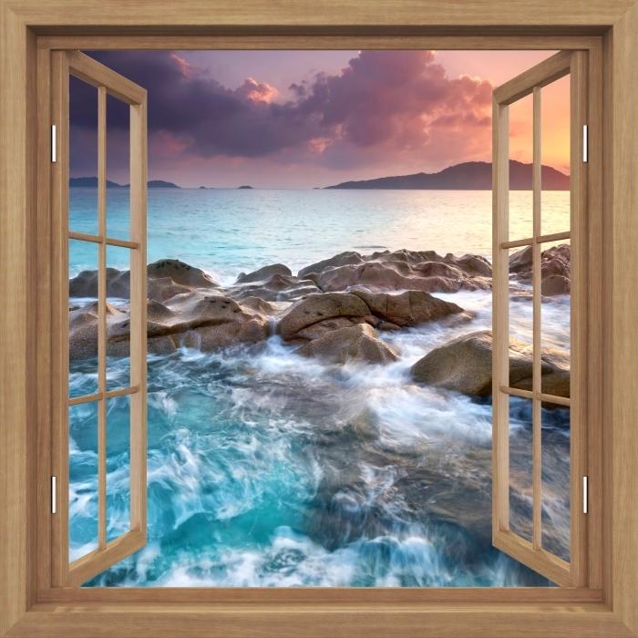 Fototapeta winylowa Okno brązowe otwarte - Zachód słońca - Widok przez okno