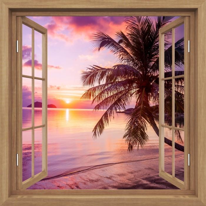 Fototapeta winylowa Okno brązowe otwarte - Tropikalna plaża - Imitacje
