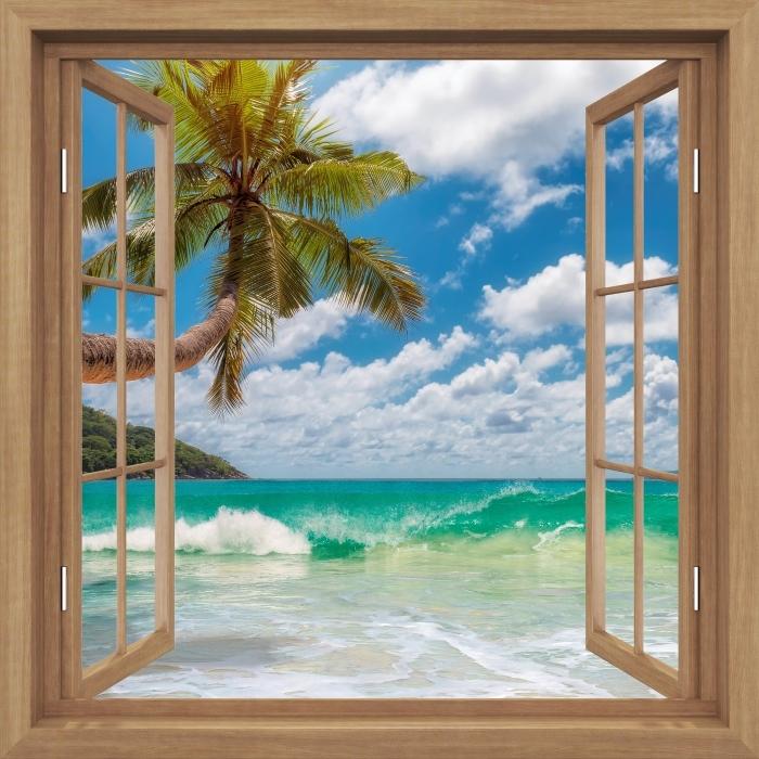 Fototapeta winylowa Okno brązowe otwarte - Raj na plaży - Widok przez okno