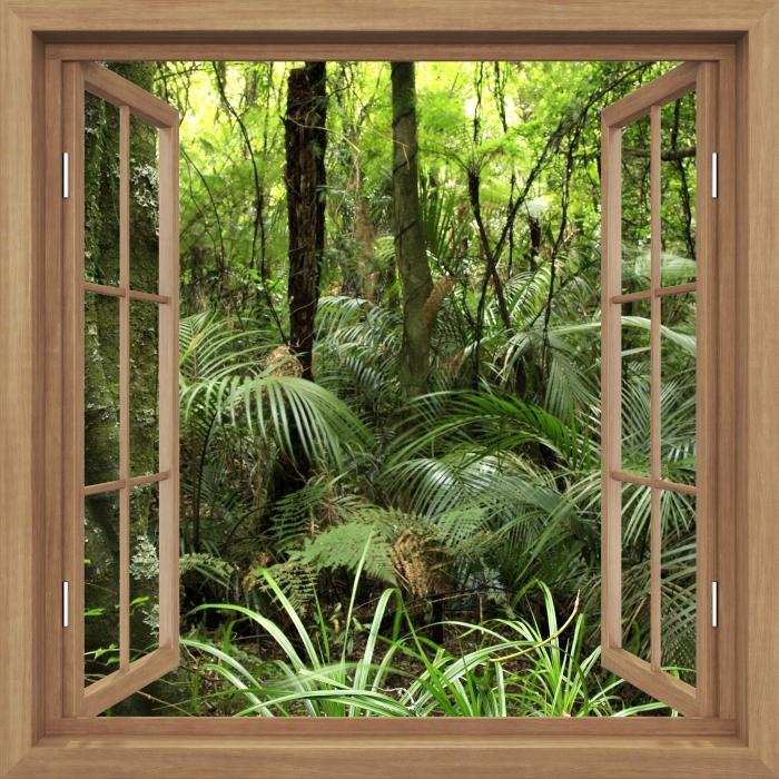Fototapeta winylowa Okno brązowe otwarte - Tropikalny las - Widok przez okno