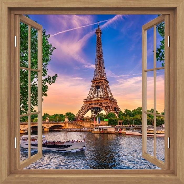 Fototapeta winylowa Okno brązowe otwarte - Paryż i Wieża Eiffla - Widok przez okno