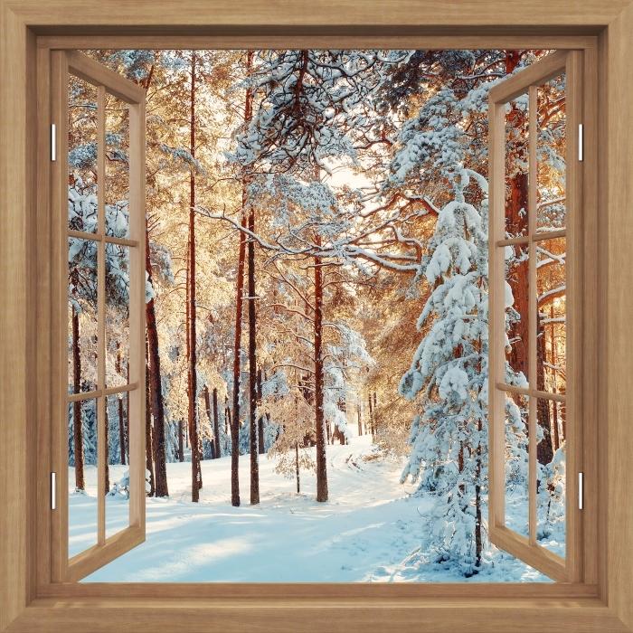 Fototapeta winylowa Okno brązowe otwarte - Sosny pokryte śniegiem - Widok przez okno