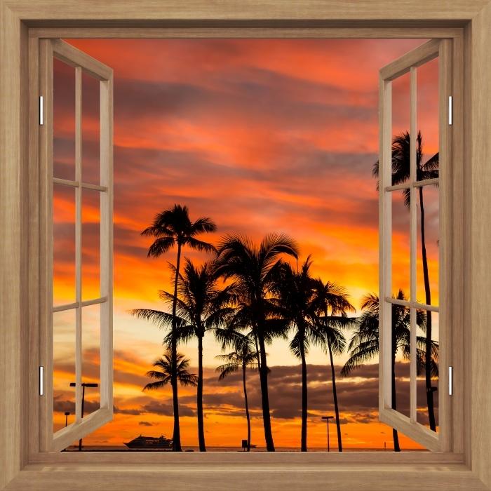 Fototapeta winylowa Okno brązowe otwarte - Hawaje - Widok przez okno