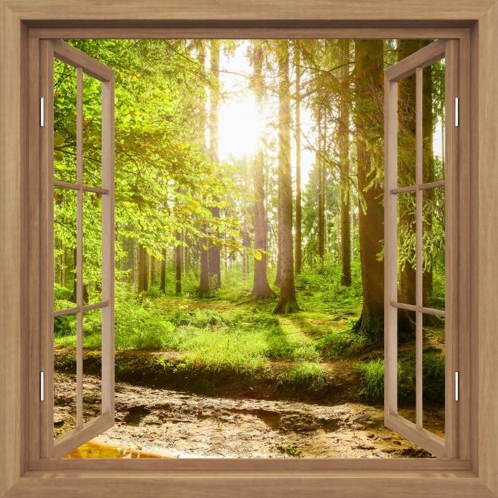 Fotomural Estándar Brown abrió la ventana - Bosque - Vistas a través de la ventana