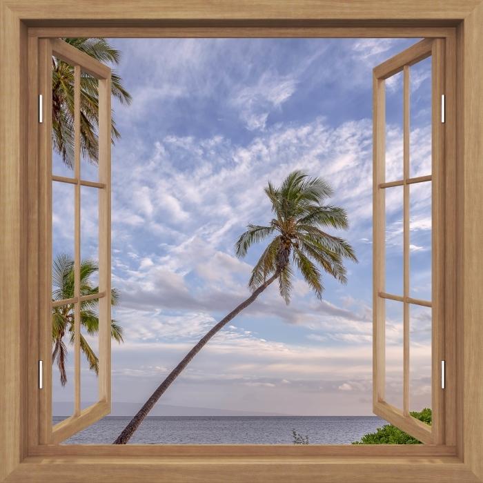 Fototapeta winylowa Okno brązowe otwarte - Palmy - Widok przez okno