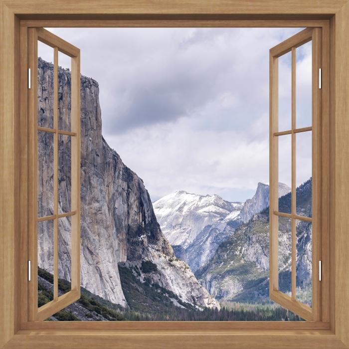 Fototapeta winylowa Okno brązowe otwarte - Park Narodowy Yosemite - Widok przez okno
