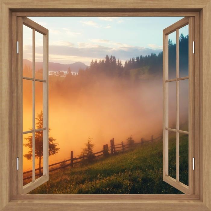 Fototapeta winylowa Okno brązowe otwarte - Górskie doliny podczas wschodu słońca - Imitacje