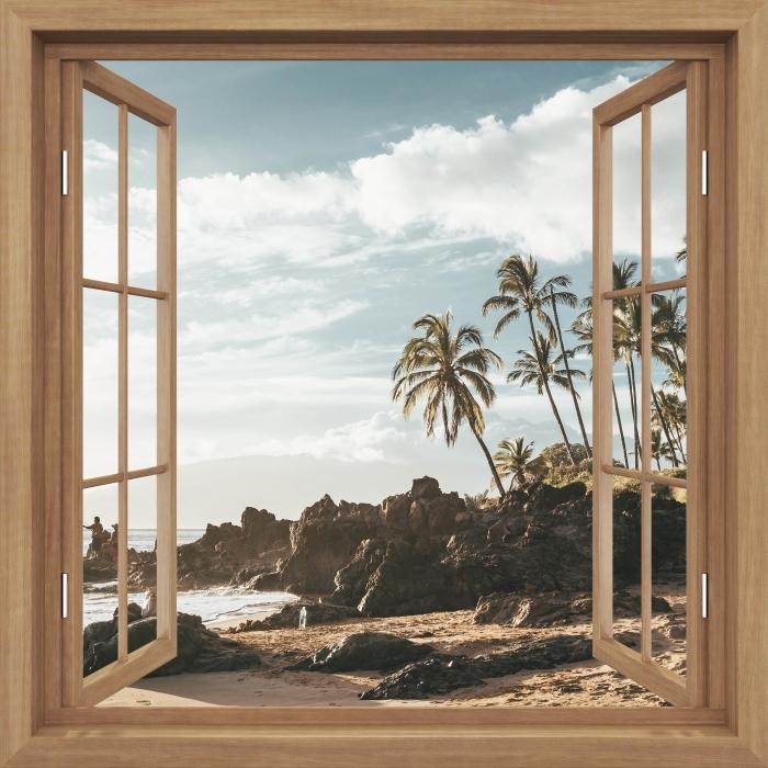 Fototapeta winylowa Okno brązowe otwarte - Palmy. Hawaje. - Imitacje