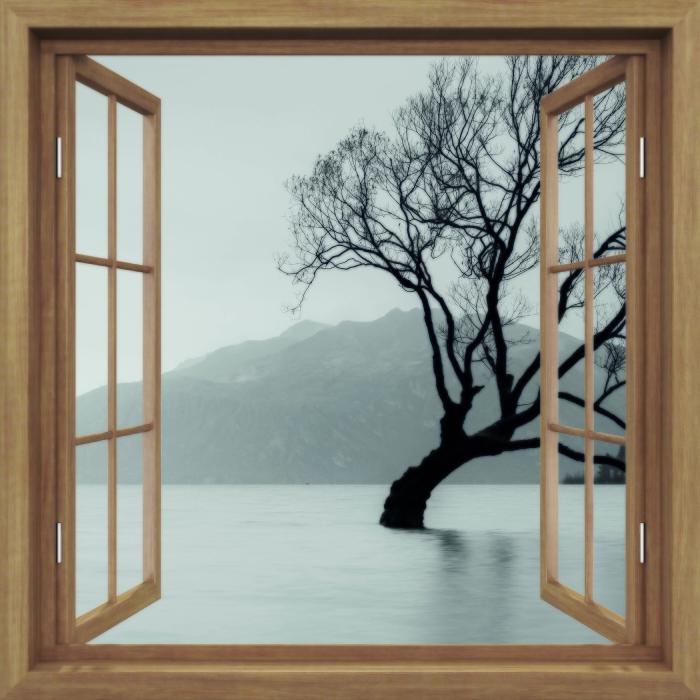 Fototapeta winylowa Okno brązowe otwarte - Krajobraz. Nowa Zelandia - Widok przez okno