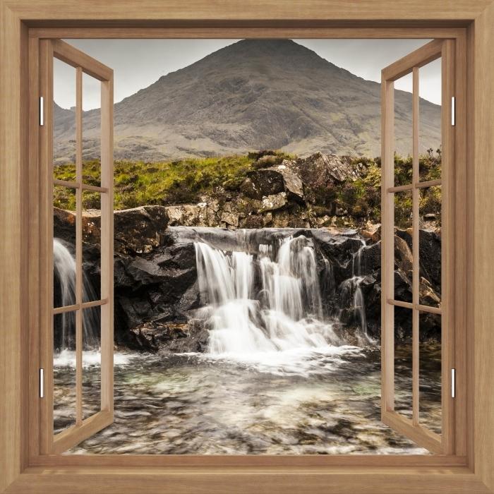Fototapeta winylowa Okno brązowe otwarte - baseny Fairy - Widok przez okno