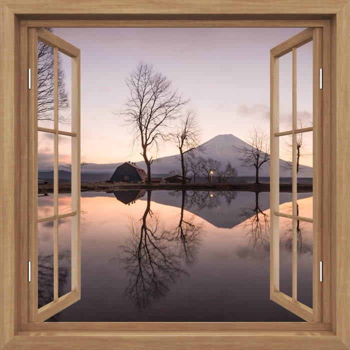 Fotomural Estándar Brown abrió la ventana - Monte Fuji - Vistas a través de la ventana