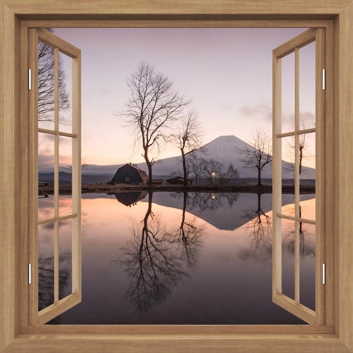 Fototapeta winylowa Okno brązowe otwarte - Góra Fuji - Widok przez okno