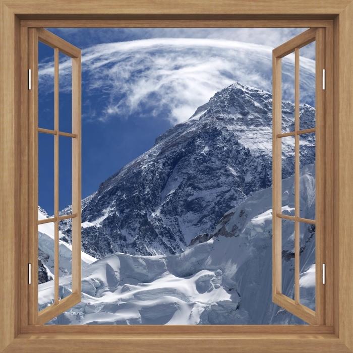 Papier peint vinyle Brown a ouvert la fenêtre - le mont Everest - La vue à travers la fenêtre