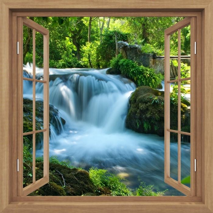 Fototapeta winylowa Okno brązowe otwarte - Wodospad - Widok przez okno