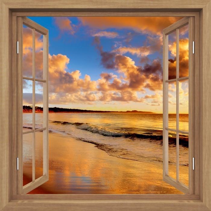 Papier peint vinyle Brown a ouvert la fenêtre - Coucher de soleil sur la plage - La vue à travers la fenêtre