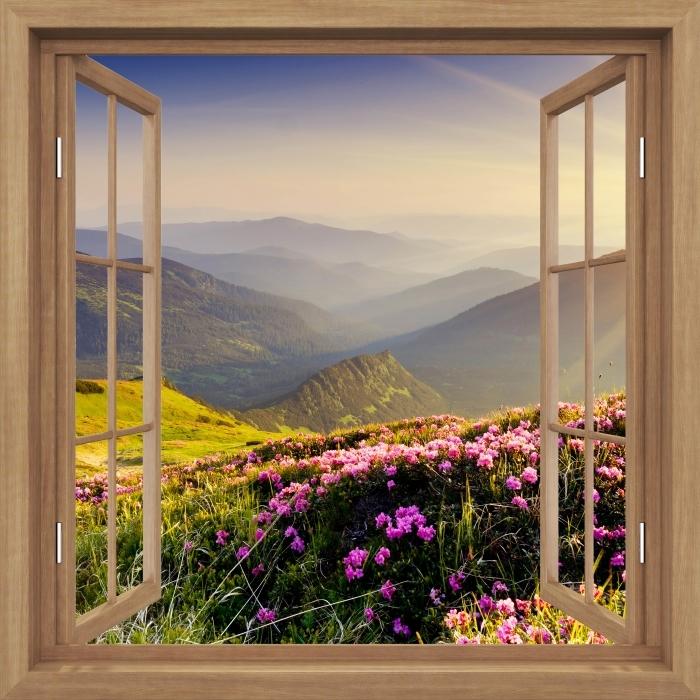 Fototapeta samoprzylepna Okno brązowe otwarte - Górski krajobraz - Widok przez okno
