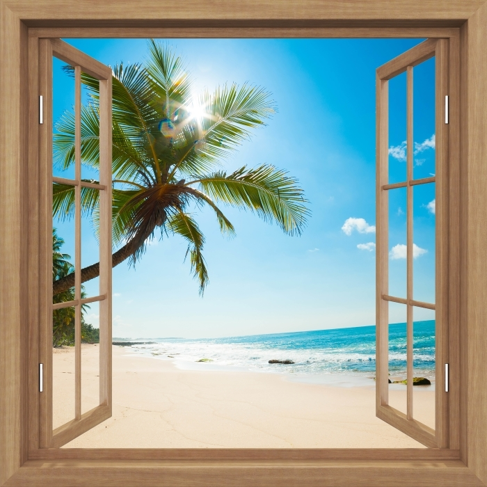 Vinyl Fotobehang Brown opende het raam - Tropisch strand - Uitzicht door het raam