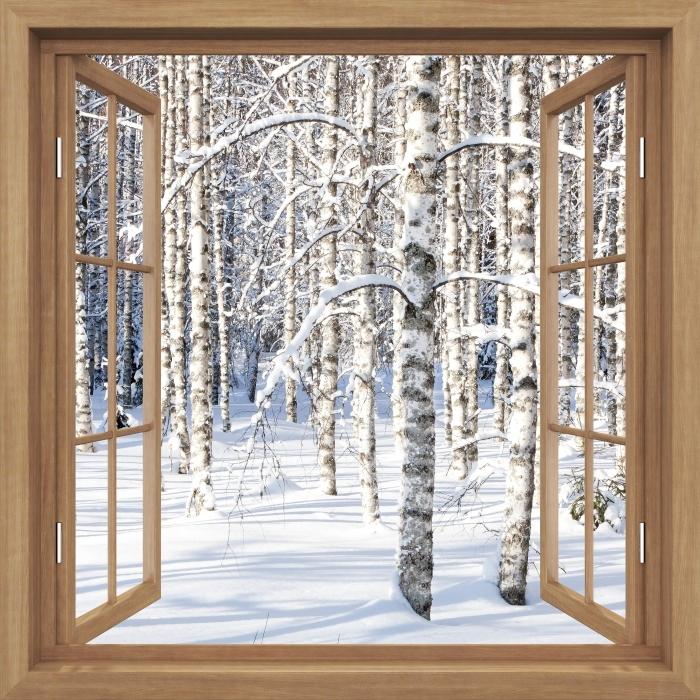 Fototapeta winylowa Okno brązowe otwarte - Śnieżne brzozy - Widok przez okno