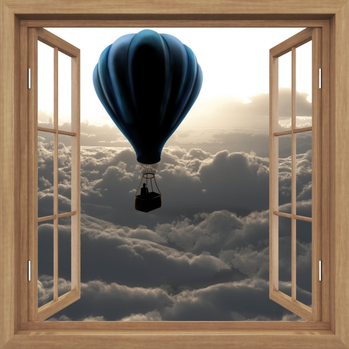 Vinyl-Fototapete Brown öffnete das Fenster - Ballon in den Himmel - Blick durch das Fenster
