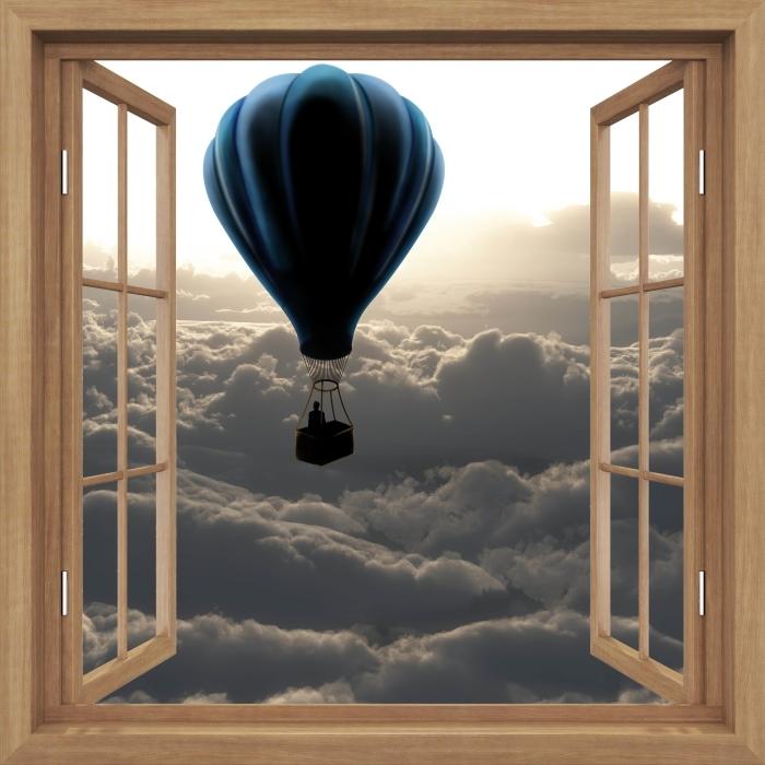 Fototapeta winylowa Okno brązowe otwarte - Balon na niebie - Widok przez okno