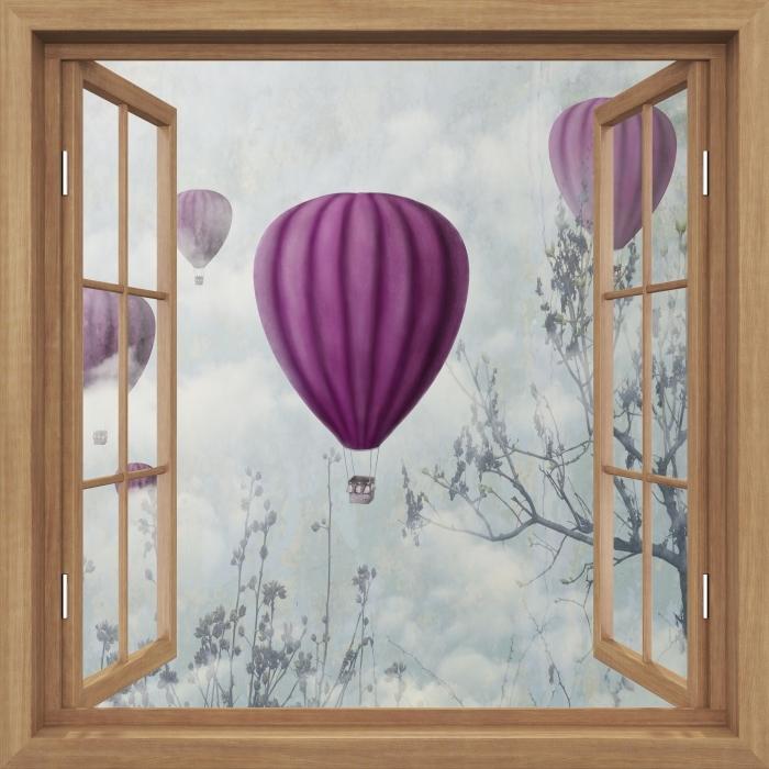 Fototapeta winylowa Okno brązowe otwarte - Balony na niebie - Widok przez okno