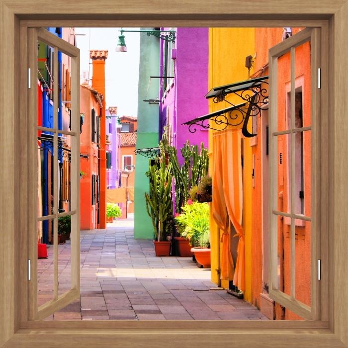 Fototapeta winylowa Okno brązowe otwarte - Kolorowa ulica w Burano. Włochy. - Widok przez okno