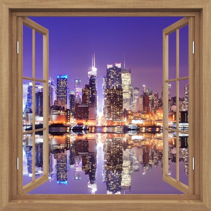 Fototapeta winylowa Okno brązowe otwarte - Manhattan - Widok przez okno