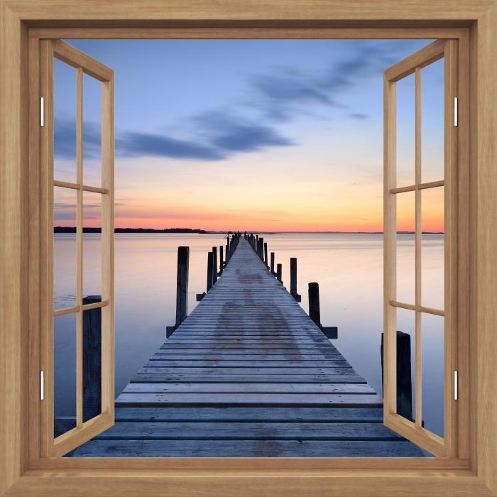 Vinyl-Fototapete Brown öffnete das Fenster - Pier - Blick durch das Fenster