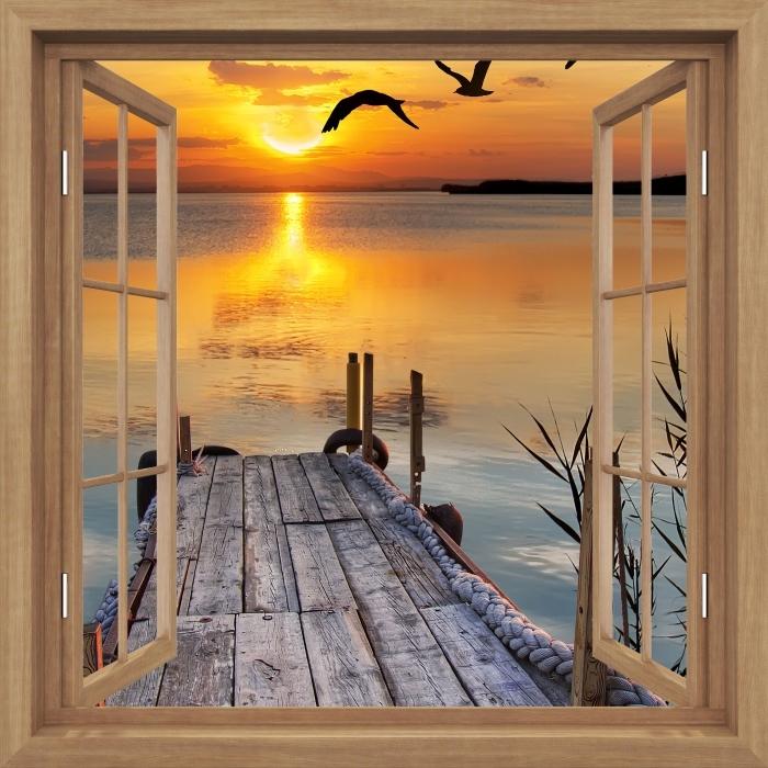 Papier peint vinyle Brown a ouvert la fenêtre - Lac - La vue à travers la fenêtre