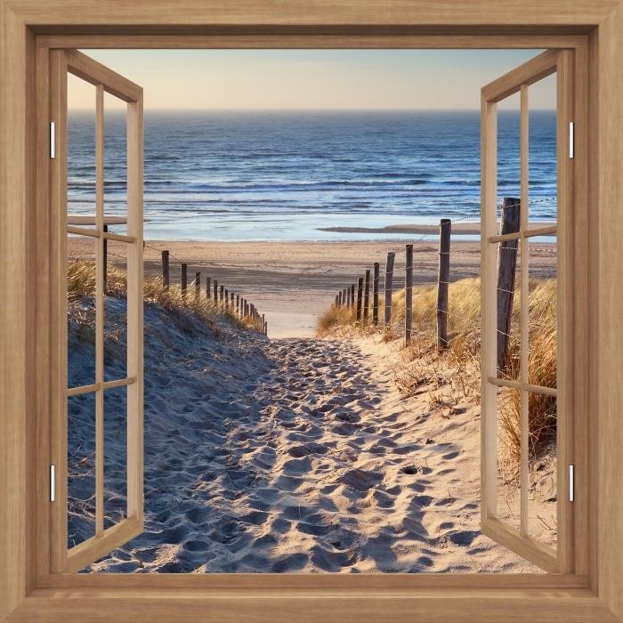 Fototapeta winylowa Okno brązowe otwarte - Morze Północne - Widok przez okno