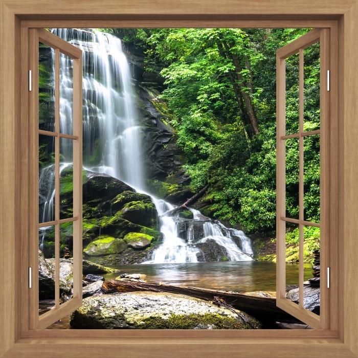 Fototapeta winylowa Okno brązowe otwarte - Wodospad w lesie - Widok przez okno