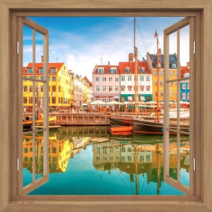 Plakat Okno brązowe otwarte - Kopenhaga -