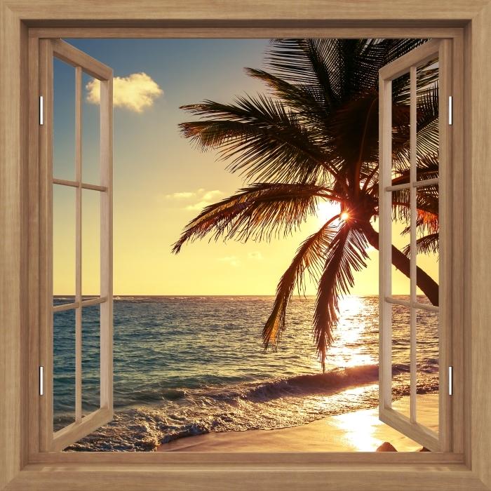 Fototapeta winylowa Okno brązowe otwarte - Palmy na tropikalnej plaży - Widok przez okno