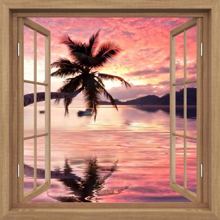 Fototapeta winylowa Okno brązowe otwarte - morze - Widok przez okno