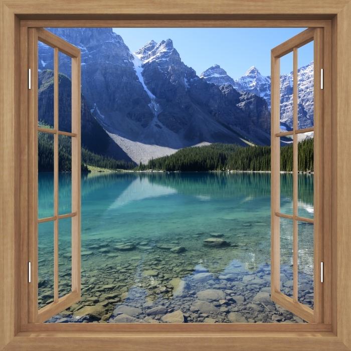 Fototapeta winylowa Okno brązowe otwarte - letni poranek - Widok przez okno