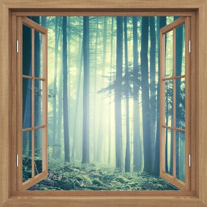 Fototapeta winylowa Okno brązowe otwarte - mglisty krajobraz. Słowenia. - Widok przez okno
