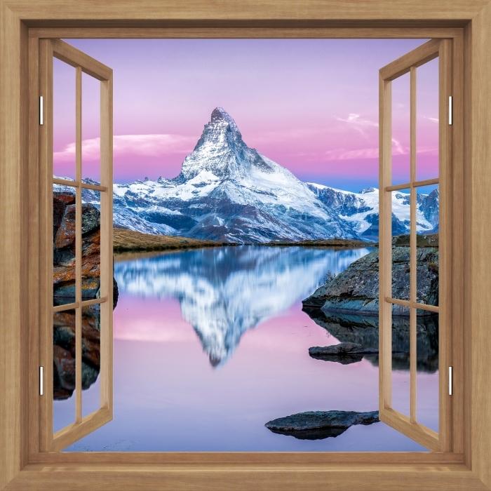 Naklejka Pixerstick Okno brązowe otwarte - jezioro i góry -
