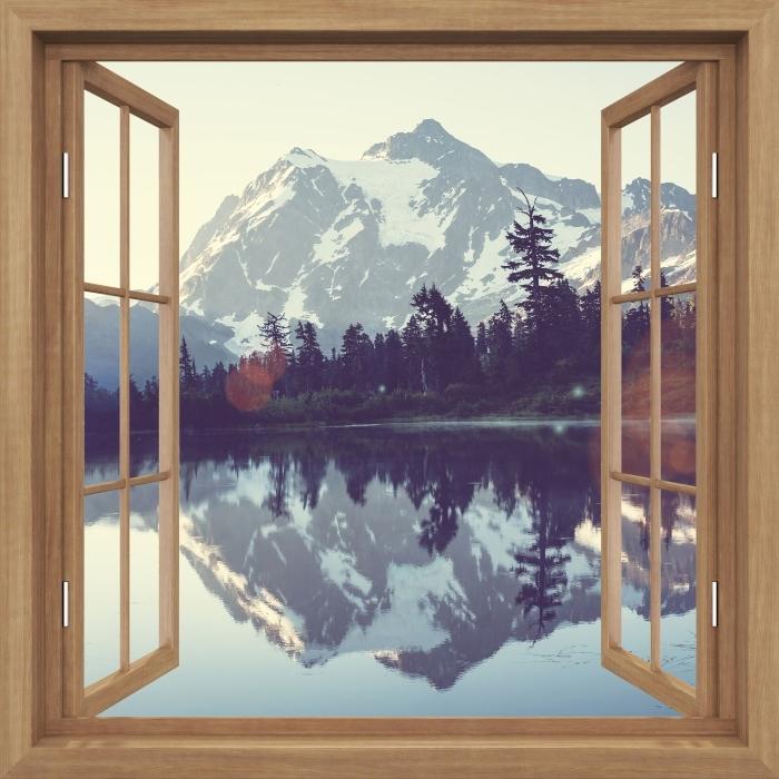 Fototapeta winylowa Okno brązowe otwarte - Jezioro - Widok przez okno
