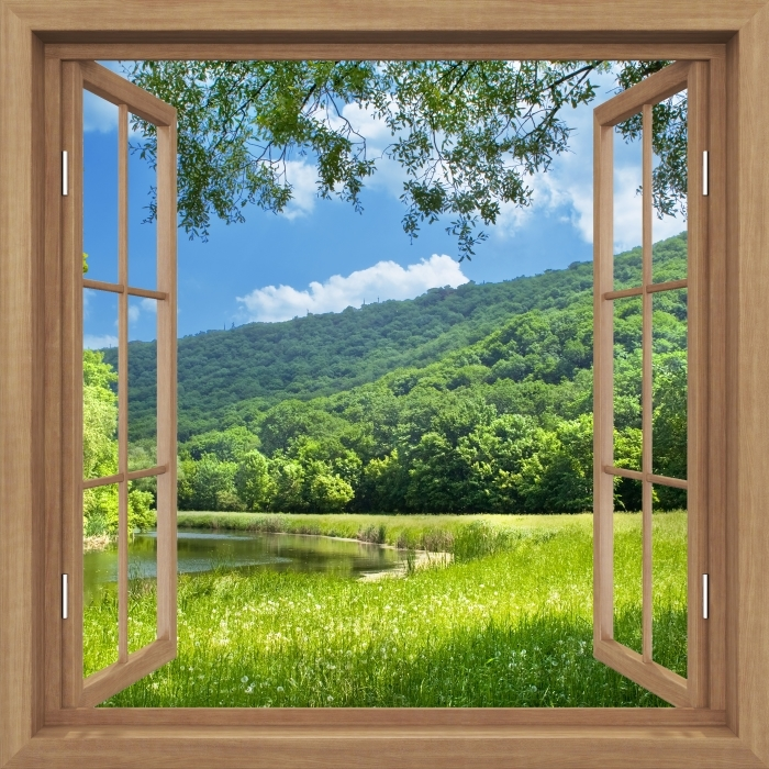 Papier peint vinyle Brown a ouvert la fenêtre - Rivière - La vue à travers la fenêtre