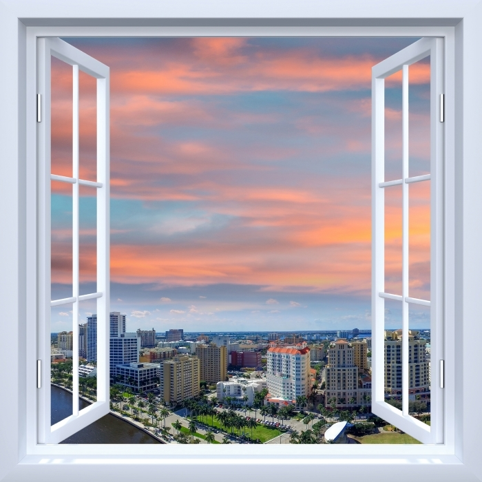 Vinyl-Fototapete Weiß offenes Fenster - Luftaufnahme - Blick durch das Fenster