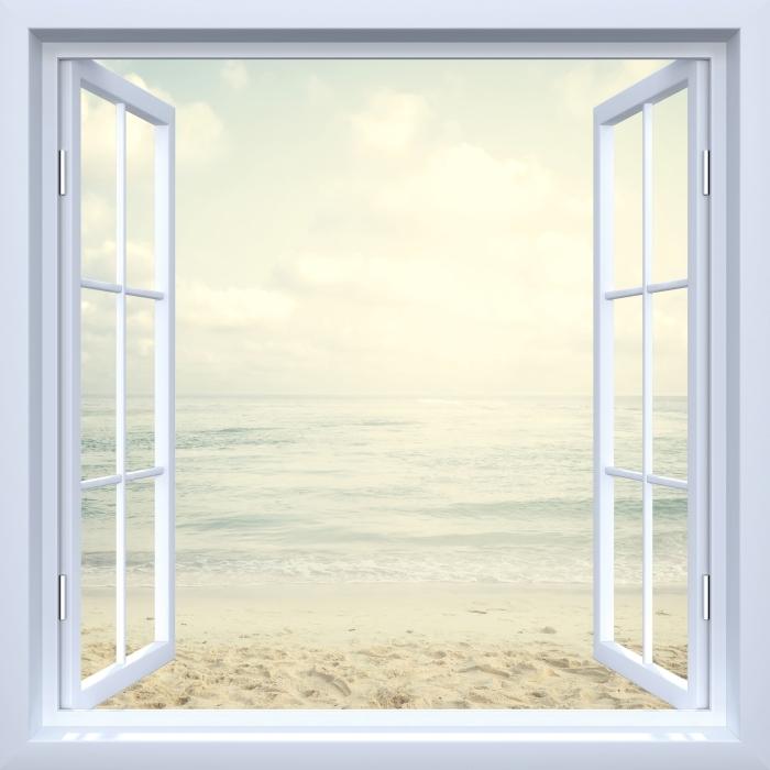 Papier peint vinyle Fenêtre ouverte blanche - Plage en été - La vue à travers la fenêtre