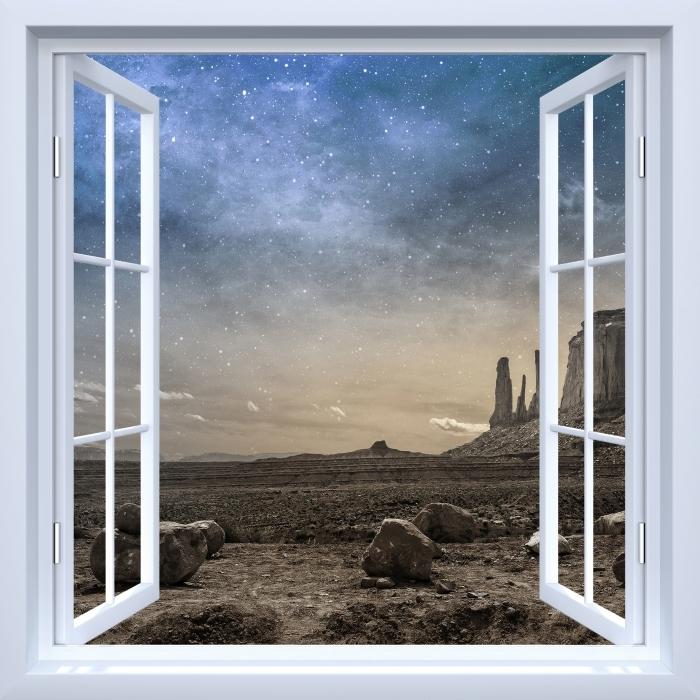 Fototapeta winylowa Okno białe otwarte - Skalista pustynia - Widok przez okno