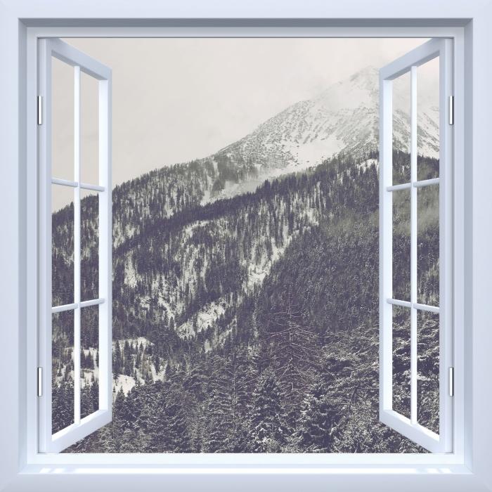 Papier peint vinyle Fenêtre ouverte blanche - Nuages - La vue à travers la fenêtre