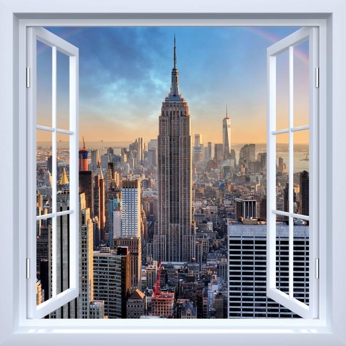 Fototapeta samoprzylepna Okno białe otwarte - Nowy Jork - Widok przez okno