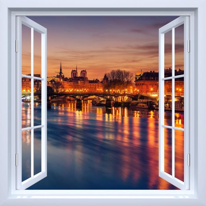 Vinyl Fotobehang White open raam - Paris - Uitzicht door het raam