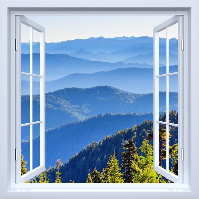 Fototapeta winylowa Okno białe otwarte - Góry - Widok przez okno